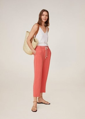 MANGO Drawstring straight pants khaki - XS - Women