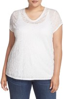 Sejour Plus Size Women's V-Neck Lace Tee