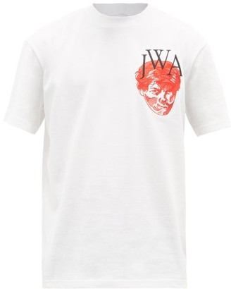 J.W.Anderson Face-embroidered Cotton-jersey T-shirt - White