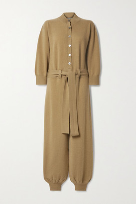 Madeleine Thompson Thurman Belted Cashmere Jumpsuit - Camel