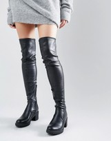 Glamorous Thigh High Chunky Heeled Over The Knee Boots