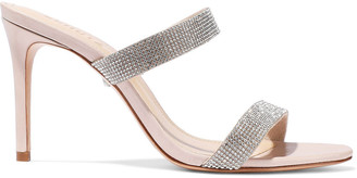 Schutz Beatriz Crystal-embellished Leather Mules