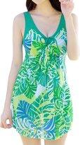 Wantdo Women's Slender Scoop One Piece Support Up Swimsuit Dress Swimwear Dress