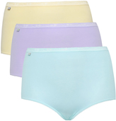 Yours Clothing SLOGGI 3 PACK Pastel Blue, Purple And Yellow Basic Maxi Briefs