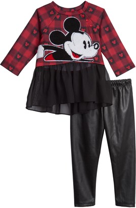 Pippa & Julie X Disney(R) Mickey Mouse Plaid Top & Faux Leather Leggings Set