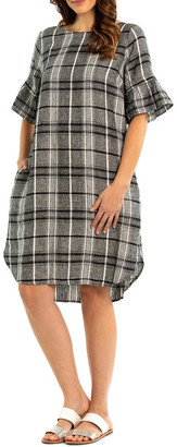 Pleat Sleeve Check Linen Dress