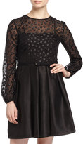 Taylor Long-Sleeve Polka-Dot Dress, Black