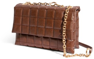 """House of Want """"H.O.W."""" We Step Up Shoulder Bag In Chocolate Lizard"""