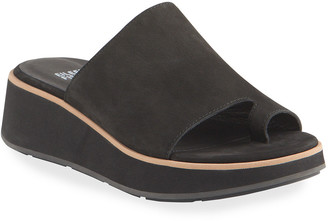 Eileen Fisher Dare Leather Wedge Slide Sandals