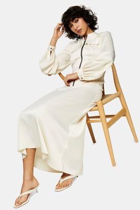 Topshop Womens Cream Satin Zip Shirt Midi Dress - Cream
