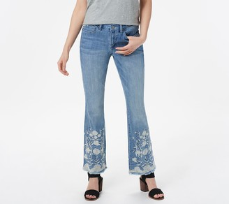 Laurie Felt Regular Classic Denim Embroidered Hem Boot-Cut Jeans
