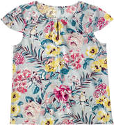 Cath Kidston Tropical Garden Pleat Detail Viscose Top