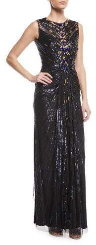 Jenny Packham Sleeveless Sequin Column Evening Gown with Golden Embellishments
