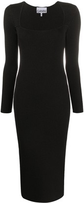 Ganni Square-Neck Ribbed Midi Dress