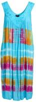 Neelam Fashions Women's Casual Dresses BLUE - Blue & Pink Tie-Dye Stripe Pocket Embroidered-Yoke Midi Dress - Women