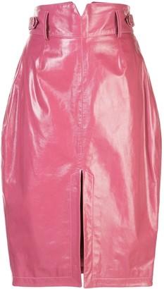 Fleur Du Mal patent V-yoke skirt