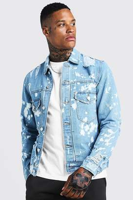 BoohoomanBoohooMAN Mens Blue Ripped Denim Jacket With Bleach Effect, Blue