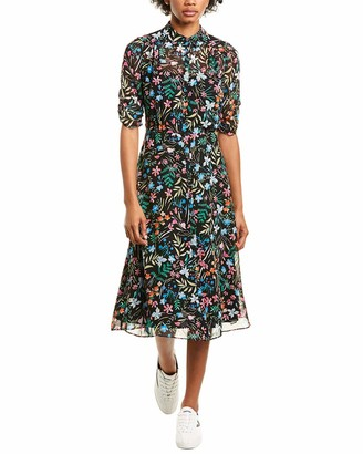 Maggy London Women's Sheer Shirt Midi Dress