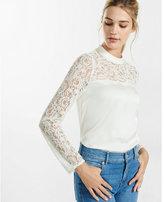 Express mock neck lace yoke blouse