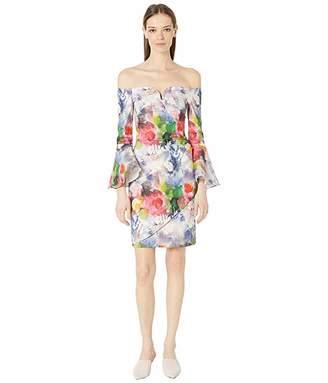 Nicole Miller Faint Flowers Bell Sleeve Dress