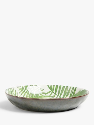 John Lewis & Partners Ceramic Shallow Leaf Dish, 28cm, Green