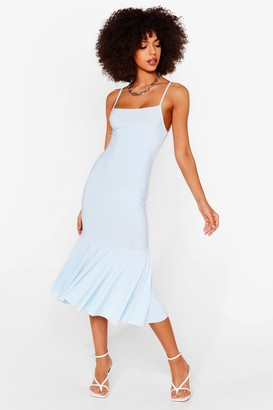 Nasty Gal Womens Pep There Be Love Square Neck Midi Dress - Blue - 4, Blue