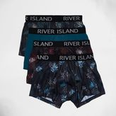 River Island Blue Floral Print Hipster Boxers Multipack