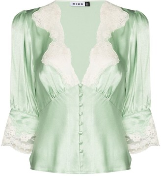 Rixo Amanda lace-trim blouse