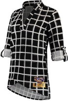Unbranded Women's Black LSU Tigers In It To Win It Window Pane V-Neck 3/4-Sleeve Blouse