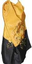 Fandori Embroidered Pure Silk Scarf - Gold/Black