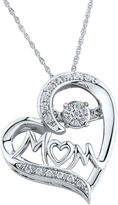 JCPenney FINE JEWELRY 1/10 CT. T.W. Diamond Mom Heart Sterling Silver Pendant Necklace