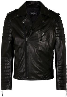 Ellesd Mens Black Leather Biker Jacket