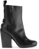McQ Studded Paneled Leather Ankle Boots