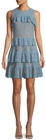 MICHAEL Michael Kors Flounced Lace Sleeveless Dress
