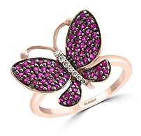 Bloomingdale's Ruby & Diamond-Accent Butterfly Ring in 14K Rose Gold - 100% Exclusive
