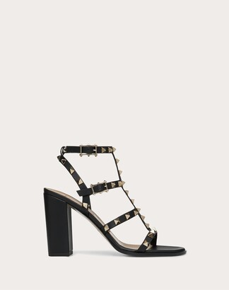 Valentino Rockstud Ankle Strap Sandal 90 Mm Women Black Calfskin 100% 36.5