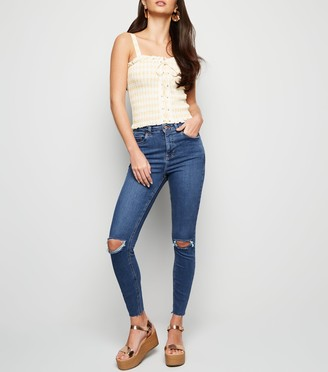 New Look Mid Wash 'Lift & Shape' Ripped Skinny Jeans