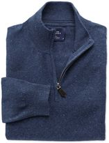 Charles Tyrwhitt Indigo Cotton Cashmere Zip Neck Cotton/cashmere Sweater Size XXXL