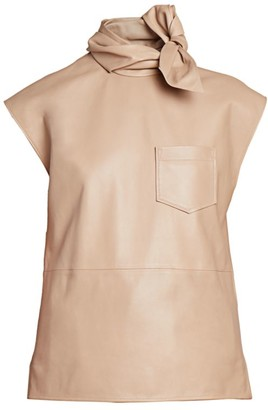 Givenchy Twisted Tie-Neck Leather Shell