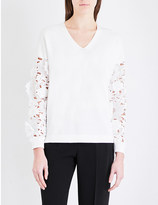 French Connection Manzoni 3D lace cotton-knitted jumper