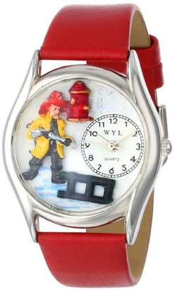 Whimsical Watches Firefighter Black Leather and Silvertone Unisex Quartz Watch with White Dial Analogue Display and Multicolour Leather Strap S-0620011