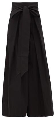 Kalita Avendon High-rise Belted Cotton Wide-leg Trousers - Black