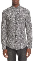 Versace Men's Trim Fit Allover Print Sport Shirt