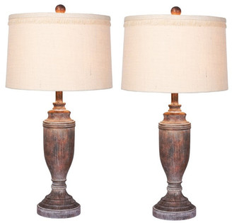 """Fangio Lighting Urn Cottage Antique Brown Res, Table Lamps, 29.5"""""""