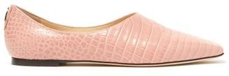 Jimmy Choo Joselyn Crocodile-effect Leather Ballet Flats - Womens - Light Pink