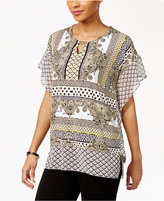 JM Collection Mixed Media Keyhole Tunic, Only at Macy's
