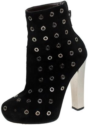 Roberto Cavalli Black Eyelet Suede Platform Ankle Boots Size 36.5