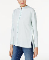 Eileen Fisher Organic Cotton Mandarin-Collar Shirt