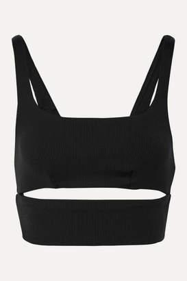 Alo Yoga Slit Cutout Ribbed Stretch Sports Bra - Black