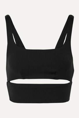 Alo Yoga Slit Cutout Ribbed Stretch Sports Bra - Black